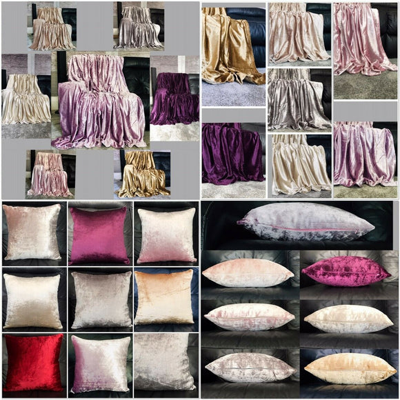 Throw over bedspread Shiny Crushed Velvet Sofa or bed Cushion Cover 8 colours - cushion mania