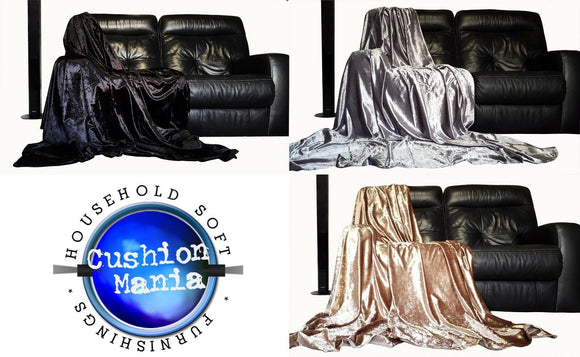 Throwover bedspread Shiny Crushed Velvet New Sofa or bed Throw or Cushion Cover - cushion mania