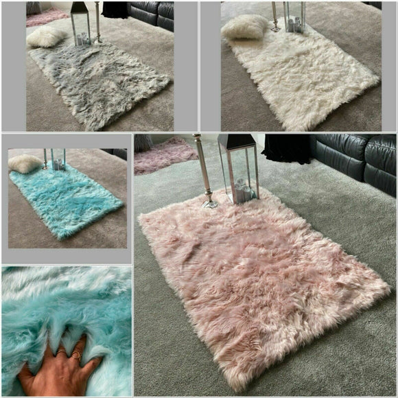 Large Super Soft Fluffy Sheepskin PLAIN Faux Fur Rugs Carpet Mat Home Deep Pile - cushion mania
