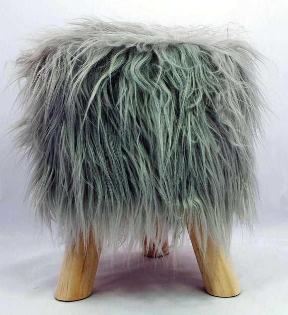 cushion mania Stool Pouffe Shaggy Faux Fur Foot Bench Ottoman Modern Padded Wooden Round Grey - cushion mania