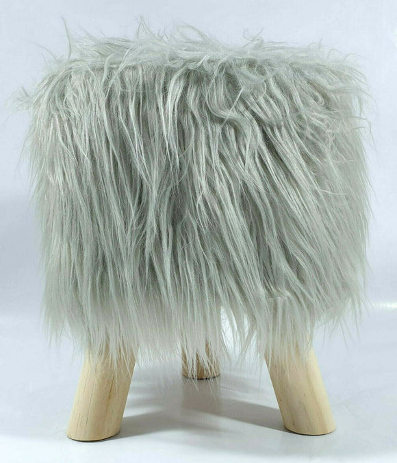 cushion mania Stool Pouffe Shaggy Faux Fur Foot Bench Ottoman Modern Padded Wooden Round Silver - cushion mania