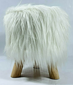 cushion mania Stool Pouffe Shaggy Faux Fur Foot Bench Ottoman Modern Padded Wooden Round White - cushion mania