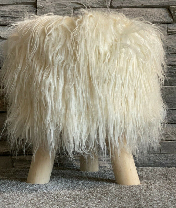 cushion mania Stool Pouffe Shaggy Faux Fur Foot Bench Ottoman Modern Padded Wooden Round Cream - cushion mania