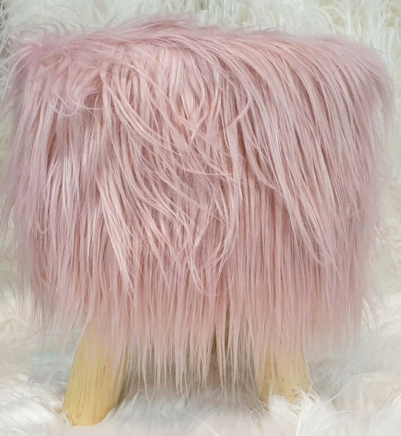 cushion mania Stool Pouffe Shaggy Faux Fur Foot Bench Ottoman Modern Padded Wooden Round Pink - cushion mania