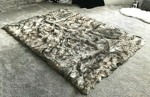 Soft Fluffy PLAIN Faux Fur Rugs Carpet Mat 150cm X 200cm Wolfskin - cushion mania