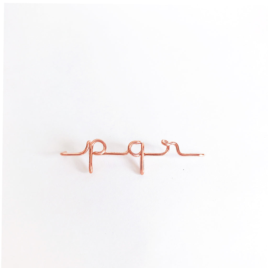 Personalised name initial pqr wire bangle bracelet in 14K Rose gold filled handmade by Rachel and Joseph Jewellery in London, UK wb