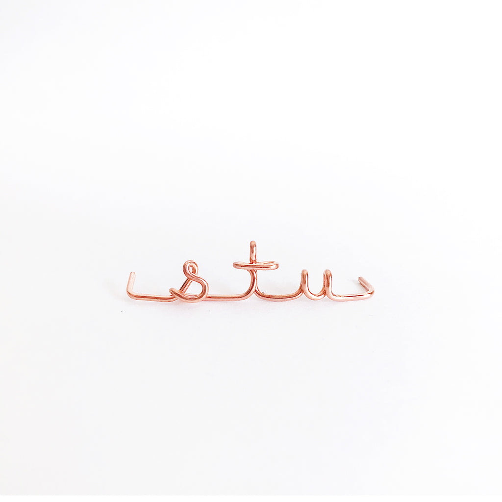 Personalised name initial stu wire bangle bracelet in 14K Rose gold filled handmade by Rachel and Joseph Jewellery in London, UK wb