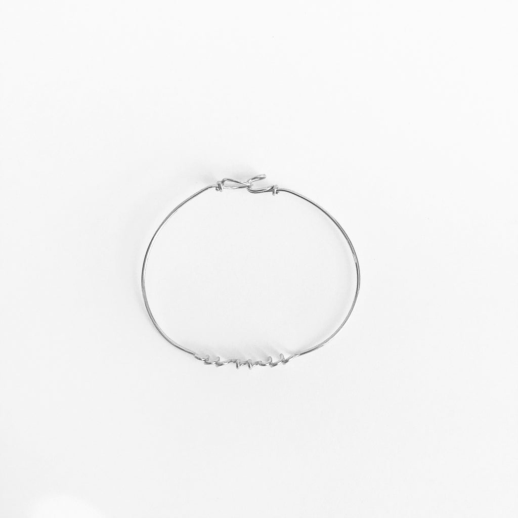 Personalised Name Bangle Bracelet Argentium® Silver