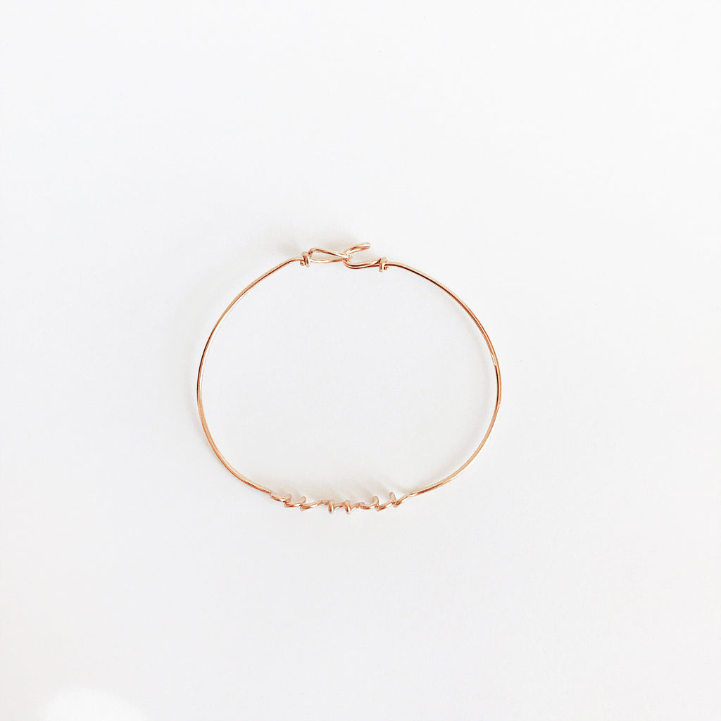 Personalised Name Bangle Bracelet Rose Gold Filled