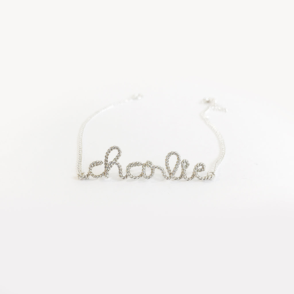 Personalised Charlie name chain bracelet in Argentium® Silver Twisted wire handmade by Rachel and Joseph jewellery UK