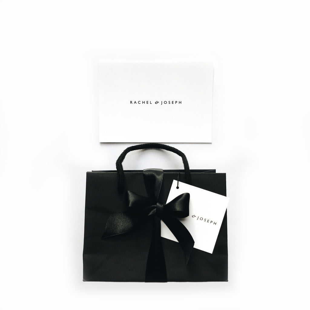 Gift packaging black ribbon Rachel and Joseph jewellery London UK