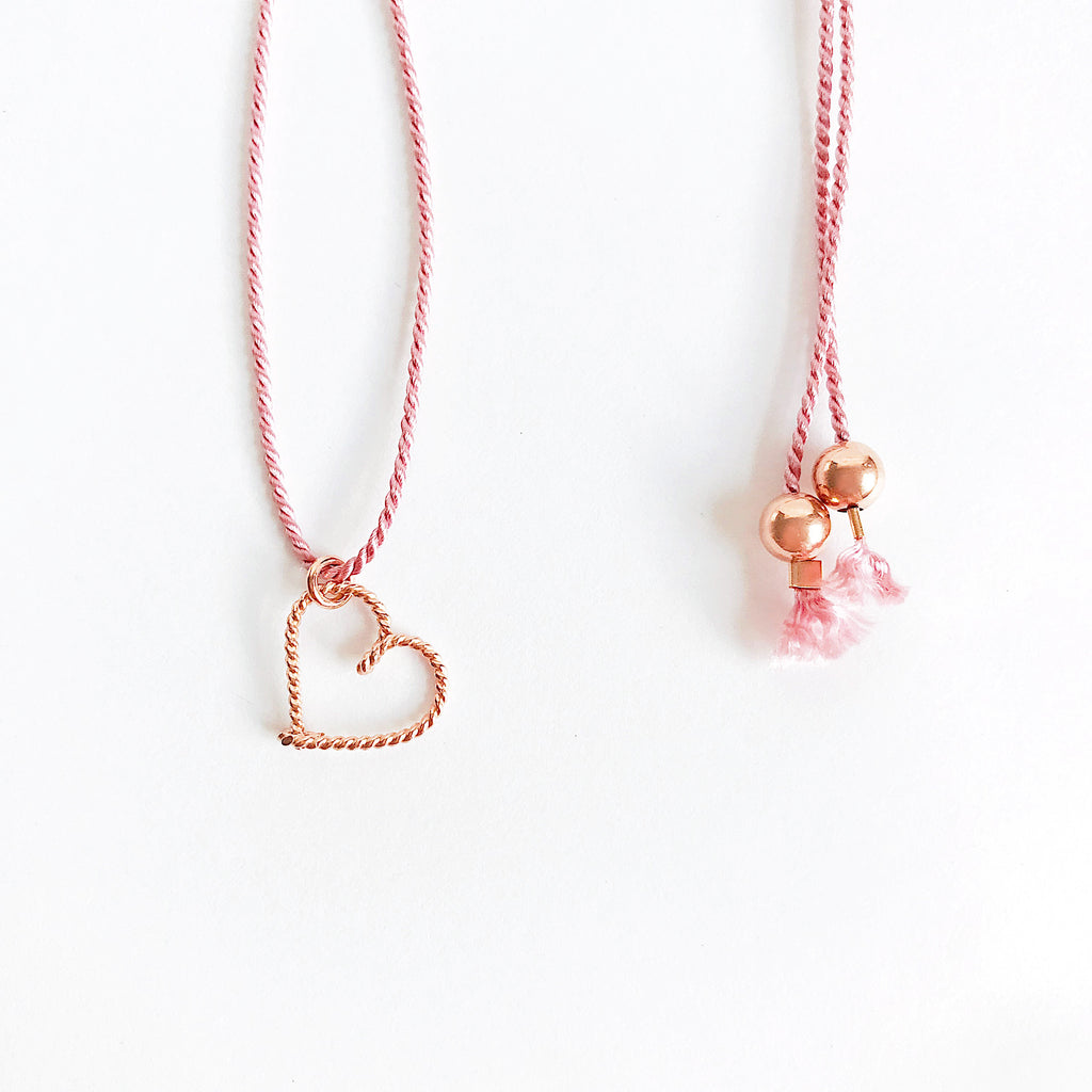 Heart wire Dark Pink natural Silk necklace in Twisted 14K rose gold filled handmade by Rachel and Joseph Jewellery in London, UK Details