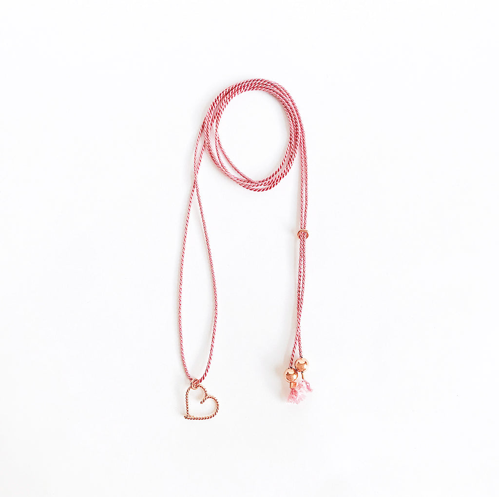 Heart wire Dark Pink natural Silk necklace in Twisted 14K rose gold filled handmade by Rachel and Joseph Jewellery in London, UK wb