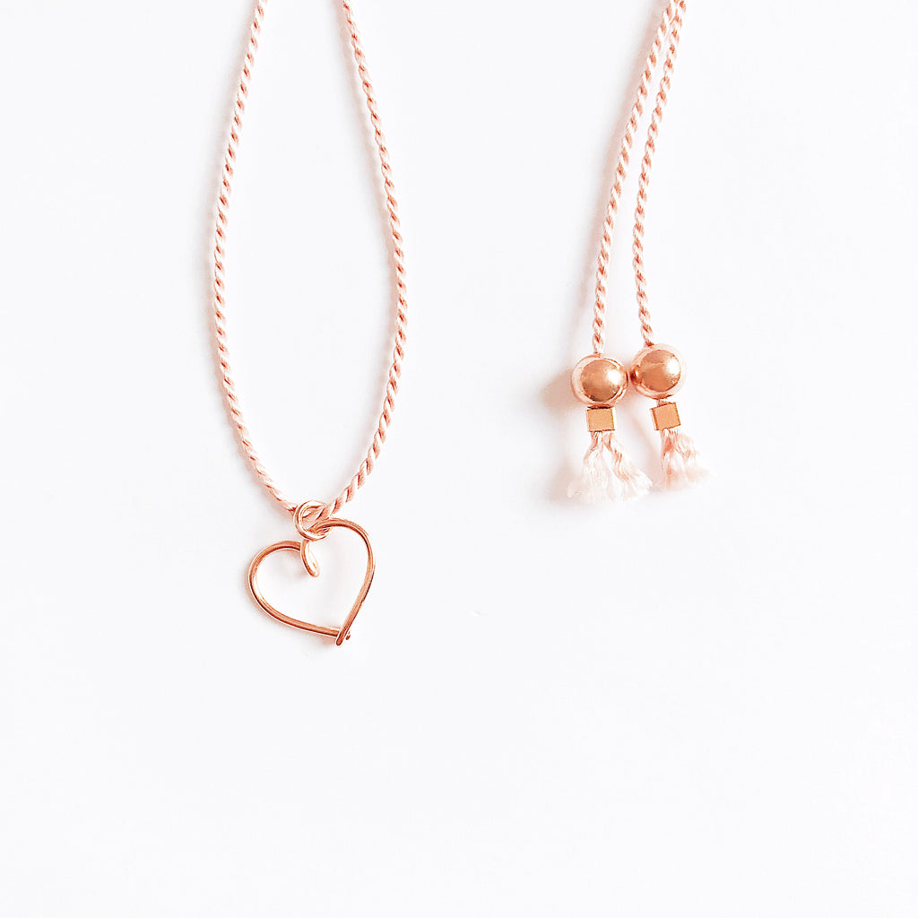 Heart wire Light Pink natural Silk necklace in 14K rose gold filled handmade by Rachel and Joseph Jewellery in London, UK Details