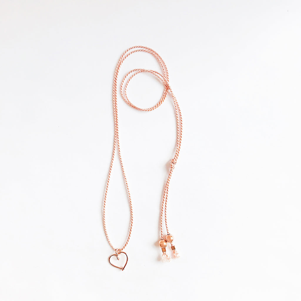 Heart wire Light Pink natural Silk necklace in 14K rose gold filled handmade by Rachel and Joseph Jewellery in London, UK wb
