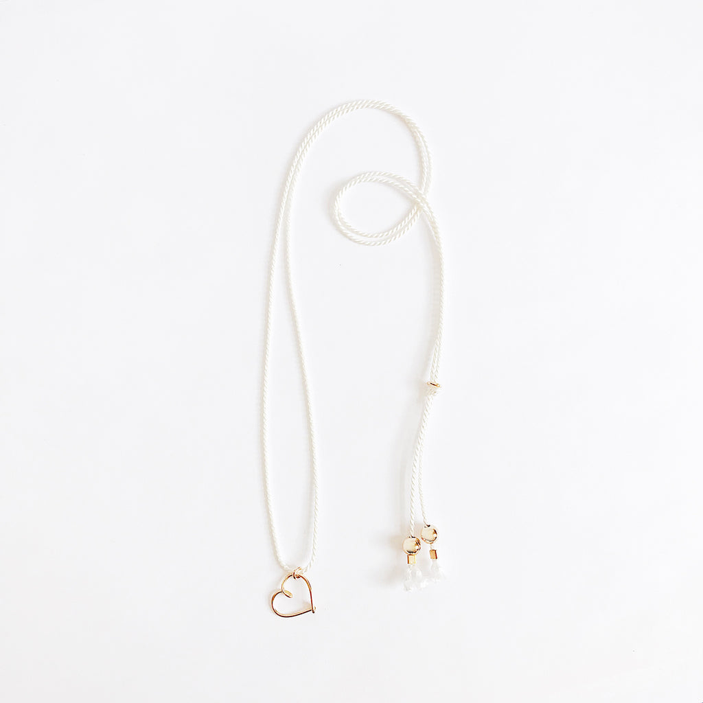 Heart wire White natural Silk necklace in 14K yellow gold filled handmade by Rachel and Joseph Jewellery in London, UK wb