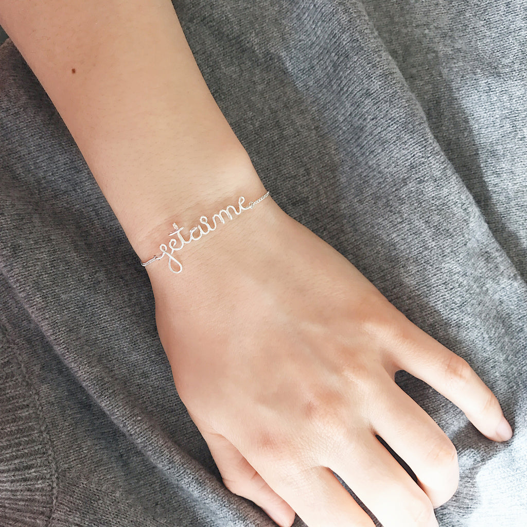 Personalised Je t'aime name wire chain bracelet in Argentium® Silver handmade by Rachel and Joseph jewellery UK
