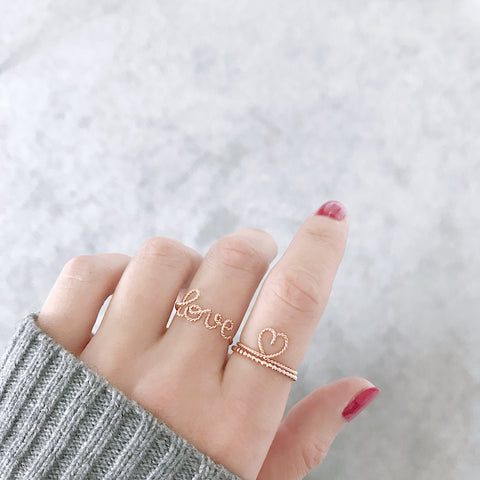 Love ring in Rose Gold handmade by Rachel and Joseph jewellery UK