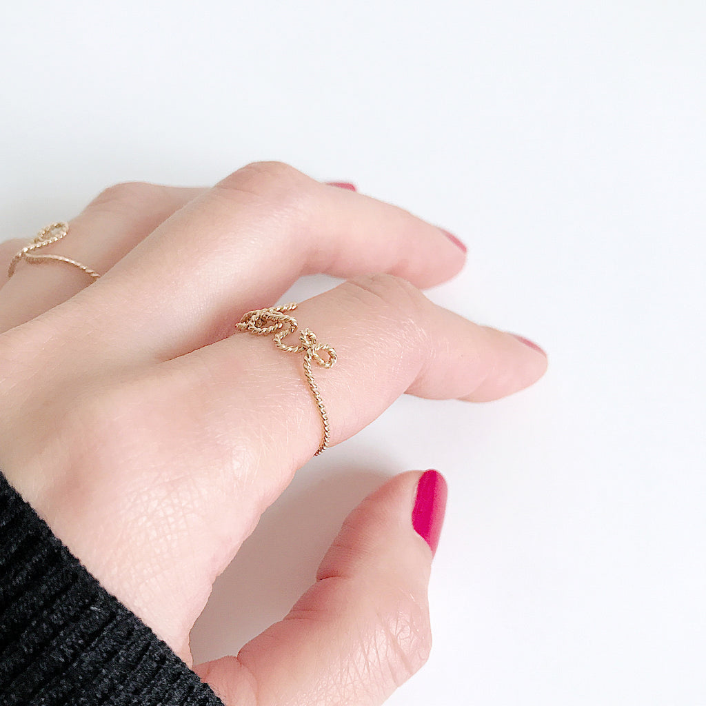 Details Love ring in Yellow Gold handmade by Rachel and Joseph jewellery UK