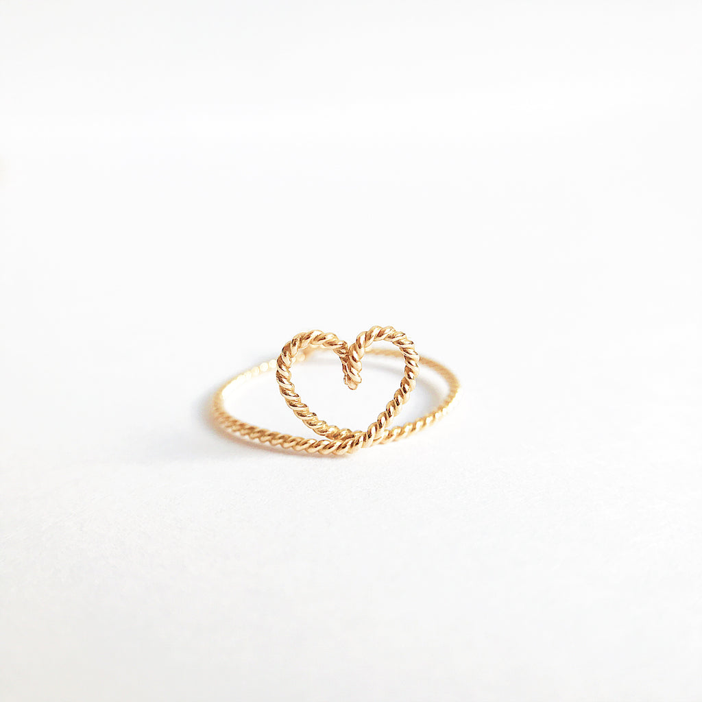 Heart shape ring in Yellow Gold twisted wire handmade by Rachel and Joseph jewellery UK