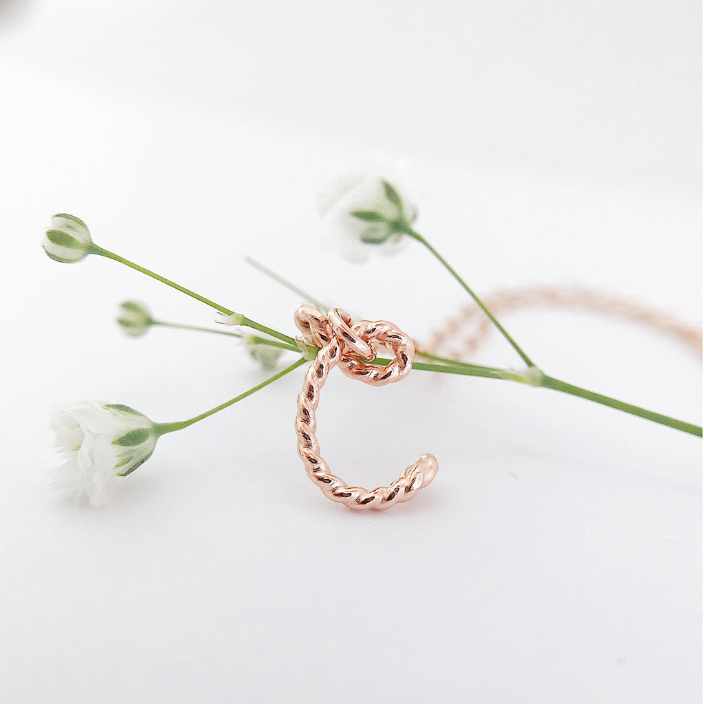 Personalised Initial C Uppercase Calligraphy pendant twisted wire chain necklace in 14K rose Gold or Silver Argentium handmade by Rachel and Joseph Jewellery in London, UK
