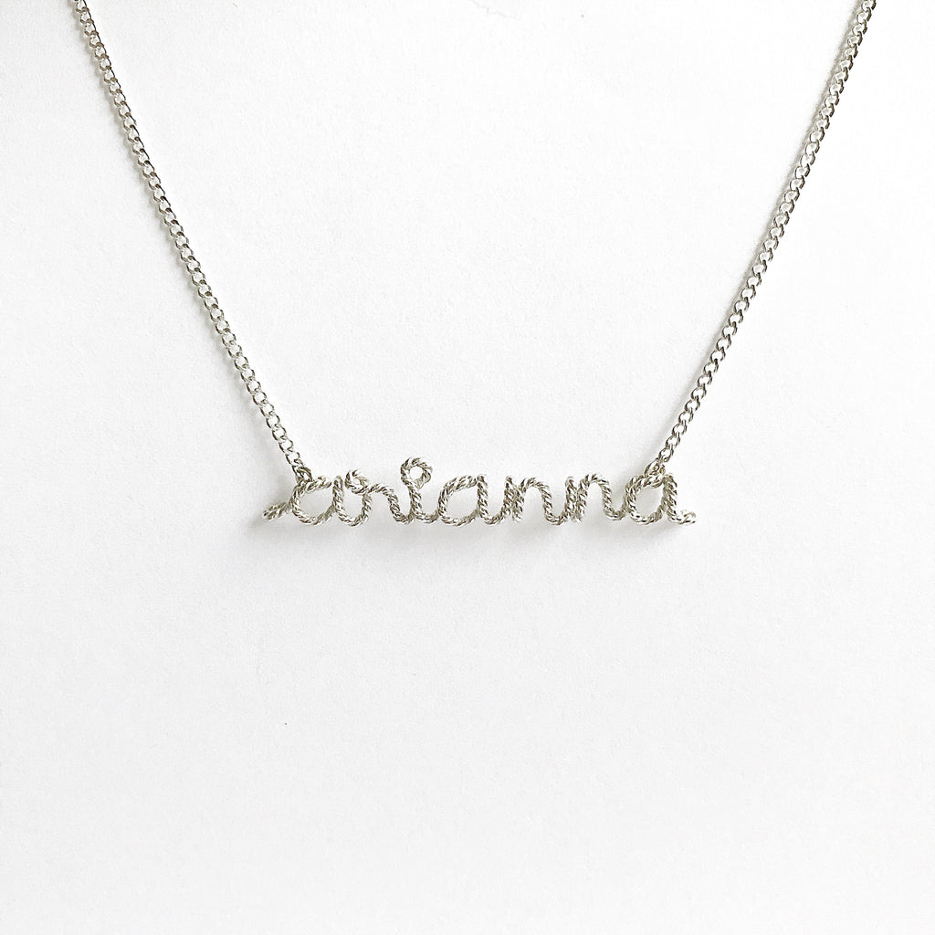 Personalised Arianna name necklace twisted wire in Argentium Silver handmade by Rachel and Joseph jewellery UK