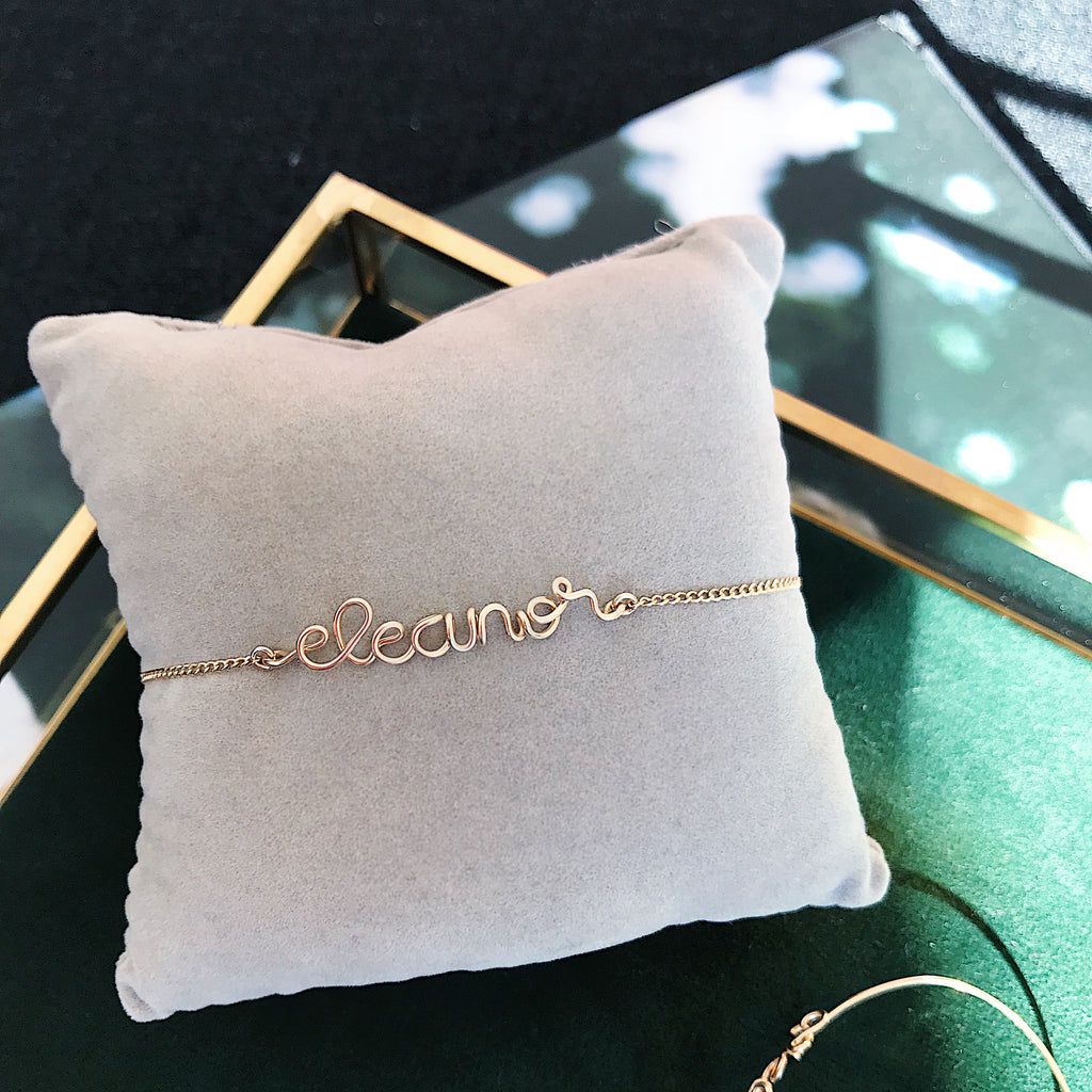 Personalised name Eleanore wire chain bracelet in 14K gold filled handmade by Rachel and Joseph Jewellery in London, UK Square