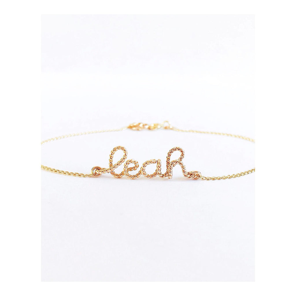 Personalised name Leah twisted wire chain bracelet in 14K gold filled handmade by Rachel and Joseph Jewellery in London, UK Instagram wb