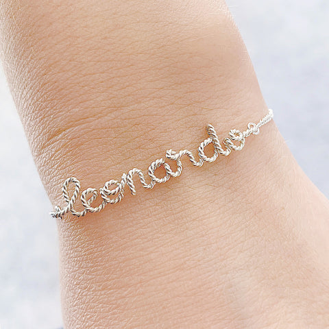 Personalised Name Chain Bracelet Argentium® Silver Twisted