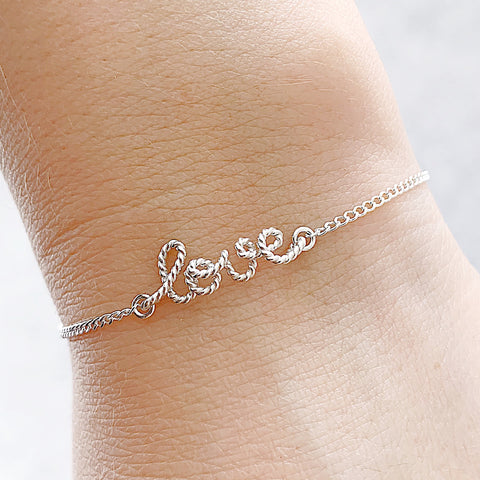 Personalised name Love twisted wire chain bracelet in Argentium® Silver handmade by Rachel and Joseph Jewellery in London, UK