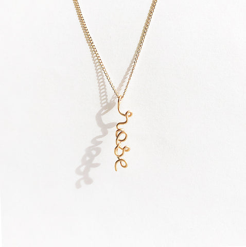 Personalised Name Pendant Necklace Yellow Gold Filled