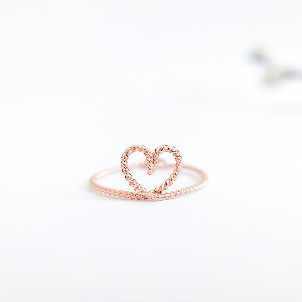 Heart shape ring in rose Gold twisted wire handmade by Rachel and Joseph jewellery UK