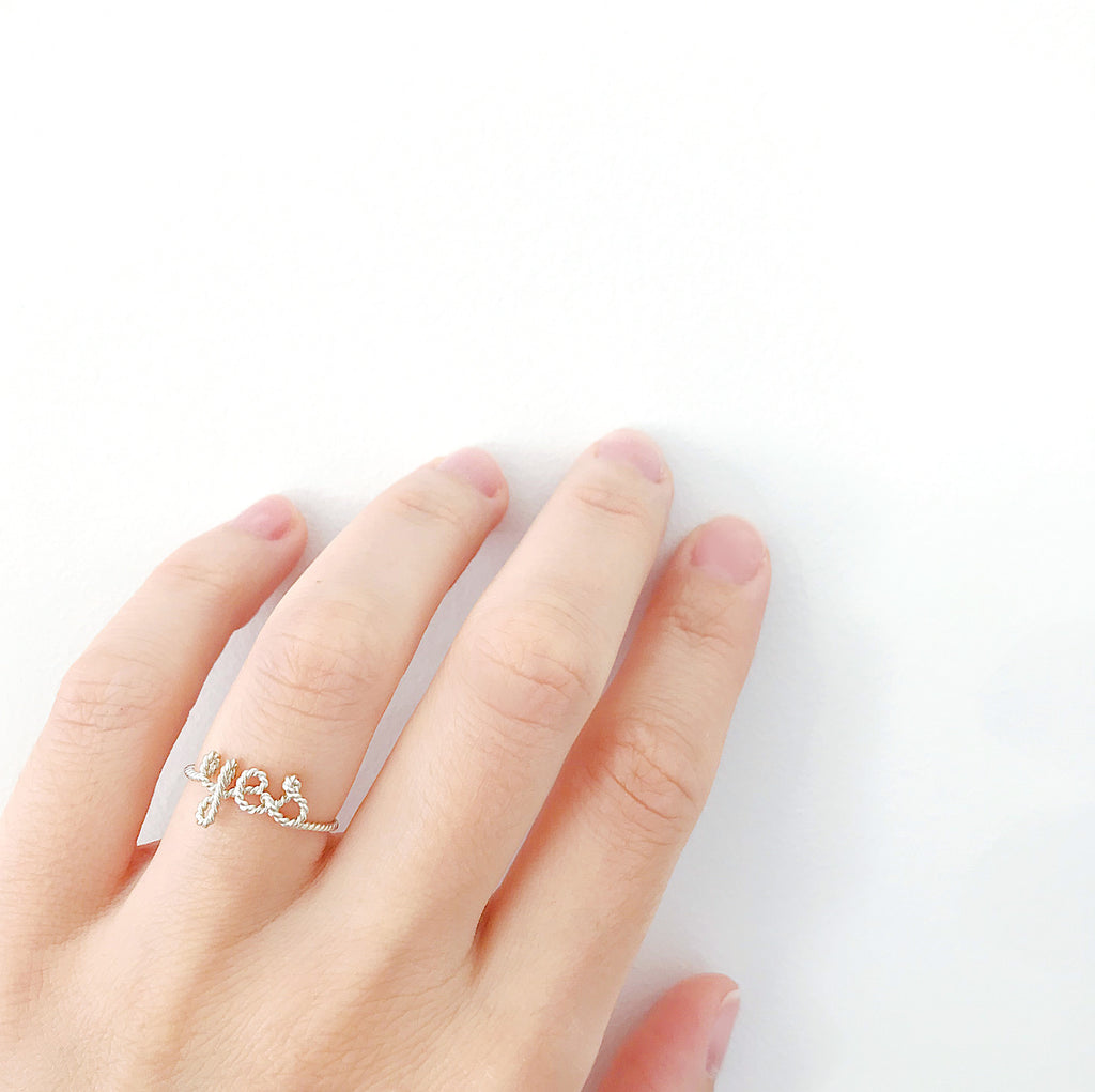 Personalised name yes twisted wire ring Argentium Silver handmade by Rachel and Joseph Jewellery in London, UK hand