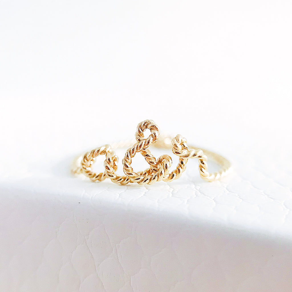 Personalised name 'you and me' a&r Ampersand twisted wire ring 14K yellow gold filled handmade by Rachel and Joseph Jewellery in London, UK WB Square