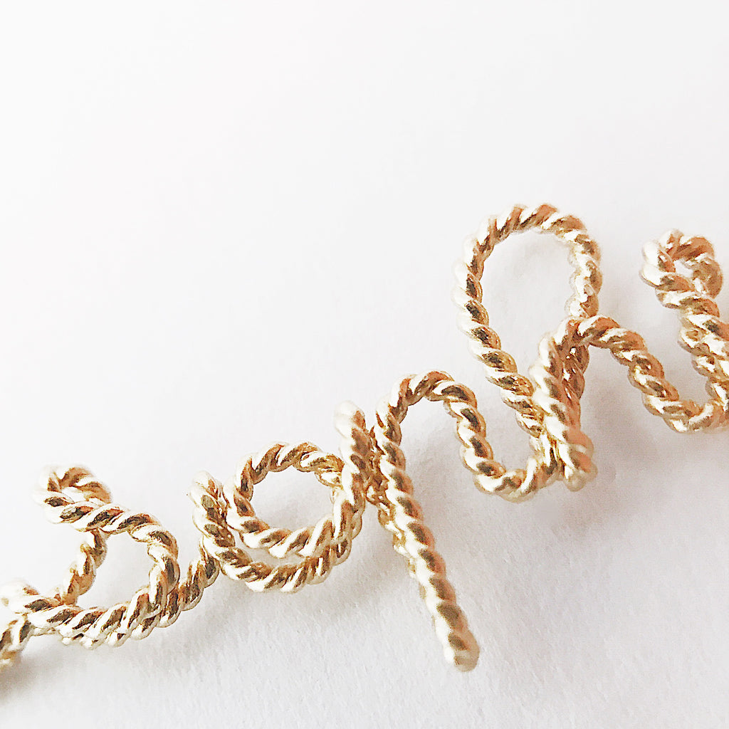 Details Personalised Sophia name necklace in Yellow Gold filled Twisted wire handmade by Rachel and Joseph jewellery UK