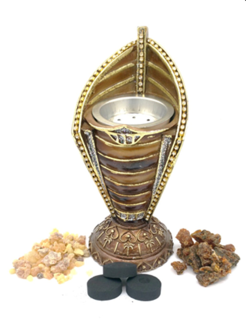 Incense Burner, 100g Frankincense, 100g Myrrh  and 10 discs charcoal