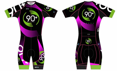 Chronos Pink Tri Suit Short Sleeve Women's - 90+ Cycling