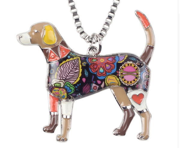 Signature BEAGLE Dog Colored Enameled Pendant Necklace-pet-Natty Pooch