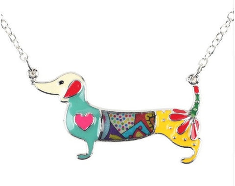 Signature DACHSHAUND Dog Colored Enameled Pendant Necklace-Jewellery-Natty Pooch