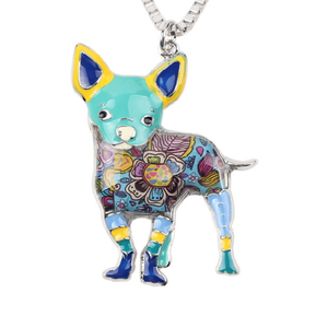 Signature CHIHUAHAUS Dog Colored Enameled Pendant Necklace-Pet-Natty Pooch
