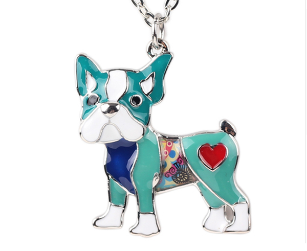 Signature SHIHTZU Dog Colored Enameled Pendant Necklace-Pet-Natty Pooch