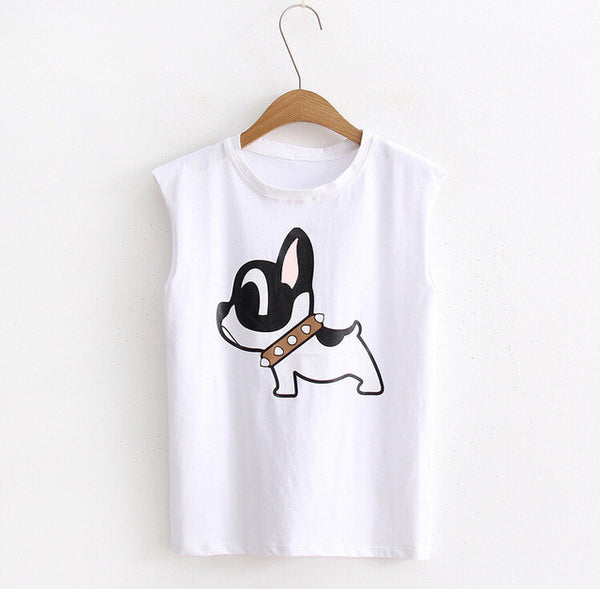 New Summer Female sleeveless DOGGY T-shirt