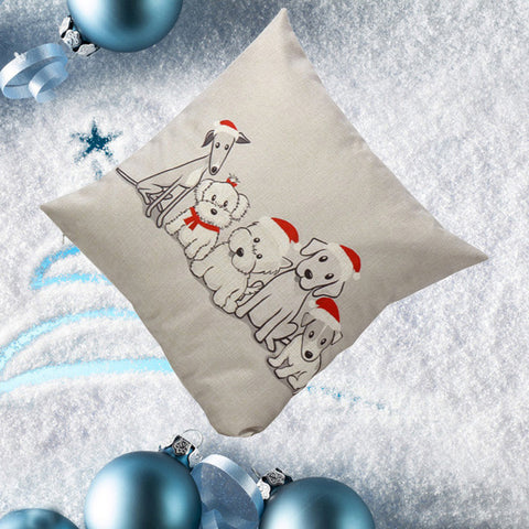 Vintage Christmas Cute Dog  Case Cushion Cover