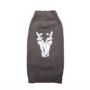 Gray Christmas Shinning Reindeer r Winter Dog Clothes
