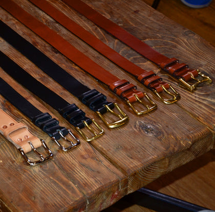 Meccanica Clothing heavy leather belt made in britain with embossed Centurion and Meccanica branding to size 4XL