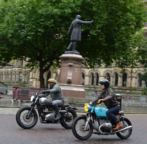 two riders in Alberts Square one on a BMW classic from the 80's