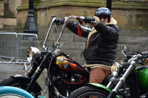 bearded gent in Alberts Square on Harley Davidson chopper
