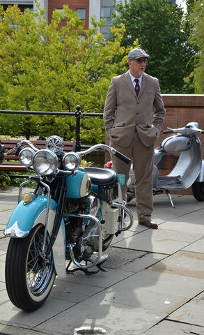 tweed clothed gentleman nexty tp classic Indian bike at Gentlemans Ride Manchester