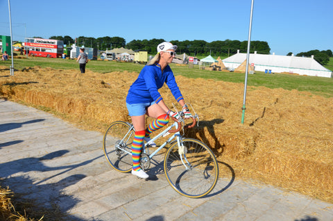 rainbow stockings leggings at Eroica Britannia 2017 Derbyshire L'Eroica