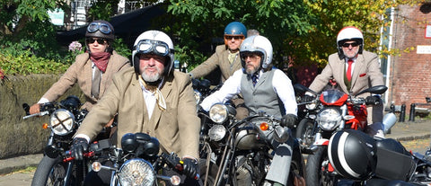 four riders in tweed arrive at Dukes 92